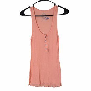Blue Life Ribbed Orange Tank Top Shell Buttons XS